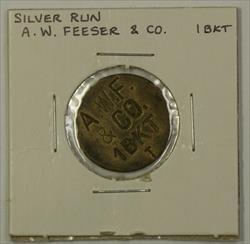 Early 20th Century 1 Bucket Trade Token A.W. Feeser & CO. Silver Run MD S-