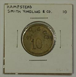 Early 20th Century 10c Trade Token Smith Yingling & CO Hampstead MD S-S6-10
