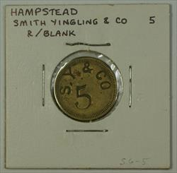 Early 20th Century 5c Trade Token Smith Yingling & CO Hampstead MD S-S6-5
