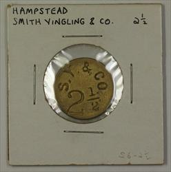 Early 20th Century Token Smith Yingling &CO Carroll County Hampstead MD S6-2 1/2