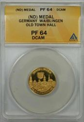 Germany Waiblingen Old Town Hall Gold Proof Medal ANACS  Deep Cameo