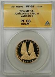 John XXIII & Paul VI Vatican II Gold Proof Medal ANACS  Deep Cameo