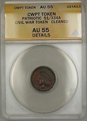 Patriotic Civil War Token 51/334A ANACS  Details Cleaned