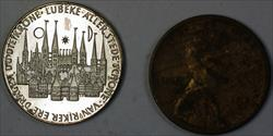 Schabbelhaus Zu Lubeck German Tiny 20mm Silver Gem Proof Medal Nicely Toned