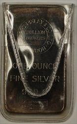 Sharps Bixely & Co London Bullion Brokers Fine 1 Troy Oz Silver Ingot