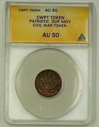 US CWPT Copper Token Civil War Patriotic Token Our Navy CW ANACS  Red