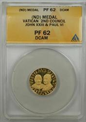 Vatican 2nd Council Gold Medal John XXIII & Paul VI ANACS  Deep Cameo