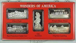 Wonders of America Hamilton Mint .999 Fine 1oz Group II Silver Ingot Collection