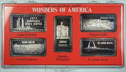 Wonders of America Hamilton Mint .999 Fine 1oz Group III Silver Ingot Collection