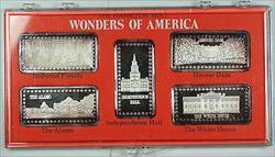 Wonders of America Hamilton Mint .999 Fine 1oz Group IV Silver Ingot Collection