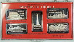 Wonders of America Hamilton Mint .999 Fine 1oz Group V Silver Ingot Collection
