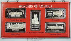 Wonders of America Hamilton Mint .999 Fine 1oz Group VI Silver Ingot Collection