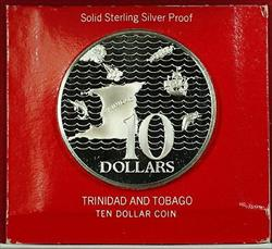 1973 Trinidad & Tobago Ten  Sterling  Proof  In Case With COA
