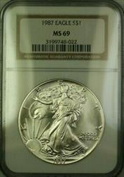 1987 American  Eagle $1  ASE NGC JAB