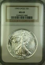 1990 American  Eagle $1  ASE NGC JAB