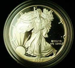 1994 P Proof American  Eagle S$1 1 Oz Troy .999 Fine With COA & OGP