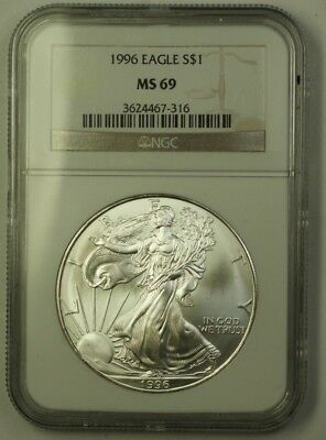 1996 US American  Eagle ASE $1  1 Ozt of Pure .999 NGC GEM BU