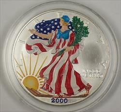 2000 American  Eagle (ASE) .999 UNC Beautifully Colorized  on Obverse
