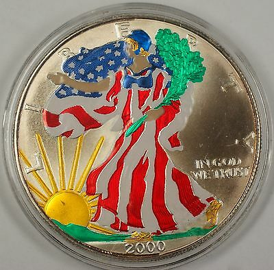 2000 American  Eagle (ASE) 999 fine Beautifully Colorized  on Obverse