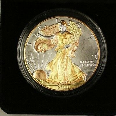 2000 American  Eagle ASE  $1  Plated W/ Case & COA 1 Ozt of .999