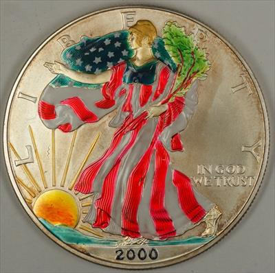 2000 American  Eagle UNC (ASE) 999 Fine Beautifully Colorized  Obverse