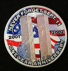 2002 US Colorized 9/11 September American  Eagle  BU ASE $1 COA