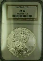 2007 American  Eagle $1  ASE NGC JAB