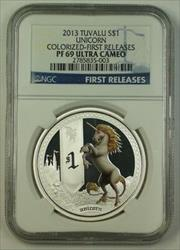 2013 Tuvalu  $1  Unicorn  Colorized First Releases NGC UC