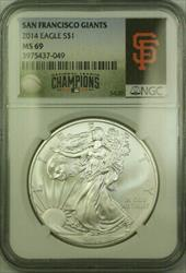 2014 American  Eagle $1  ASE NGC SF Giants National Champions