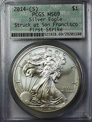 2014 S $1 American  Eagle  First Releases Doily Holder PCGS