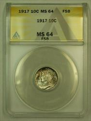 1917 Mercury Dime 10c ANACS FSB FB (Beautiful Russet Toning *Toned*)