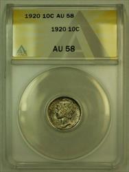 1920 Mercury Dime 10c ANACS (FB IOO) *Toned* (Undergraded)