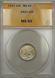 1923  Mercury Dime 10C  ANACS (Full Split Bands 10)