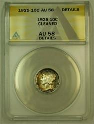 1925 Mercury Dime 10c ANACS Details *Beautifully Toned Gem* (Undergraded)