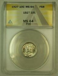 1927 Mercury Dime 10c ANACS *Light Toning*