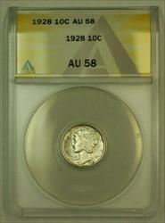 1928 Mercury Dime 10c ANACS *Nearly Full Bands* (Undergraded)