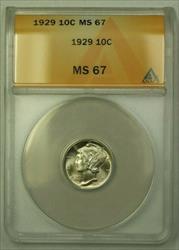 1929  Mercury Dime 10c ANACS (WW)