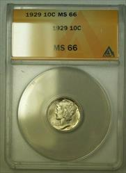 1929  Mercury Dime 10c ANACS (WW) (B)