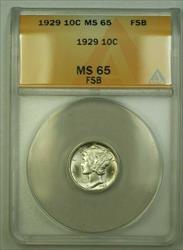 1929  Mercury Dime 10c ANACS FSB (WW) (C)