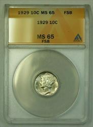 1929  Mercury Dime 10c ANACS FSB (WW) (D)