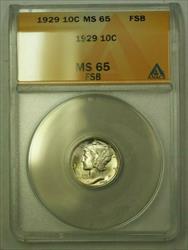 1929  Mercury Dime 10c ANACS FSB (WW) (E)