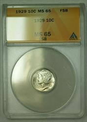 1929  Mercury Dime 10c ANACS FSB (WW) (F)