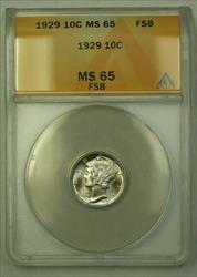 1929  Mercury Dime 10c ANACS FSB (WW) (G)