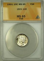 1931  Mercury Dime 10c  ANACS FB Full Split Bands Lightly Toned