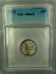 1931  Mercury Dime 10c  ICG (Full Bands FB) Toned GEM BU