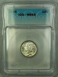 1934  Mercury Dime 10c  ICG (Full Bands FB) GEM BU