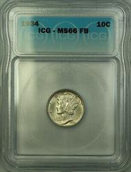 1934  Mercury Dime 10c  ICG Full Bands FB GEM BU