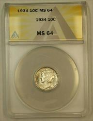 1934 Mercury Dime 10c ANACS (FB FSB IOO)