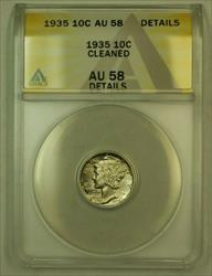 1935 Mercury Dime 10c ANACS Details Cleaned (Uncleaned IOO) *Light Toning*