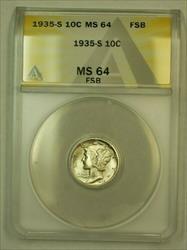 1935 S Mercury Dime 10c ANACS FB FSB (Undergraded) *Collar Clash Error*